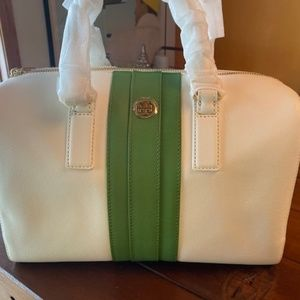 Tory Burch Robinson Striped Middy Satchel